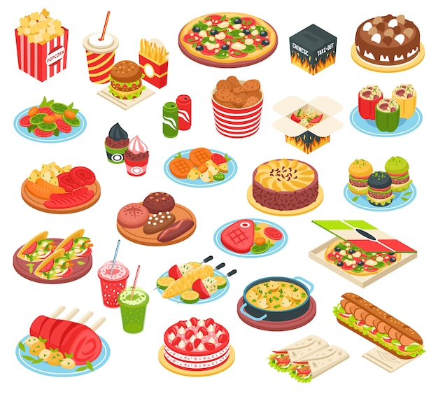 Fast food isometric set Free Vector