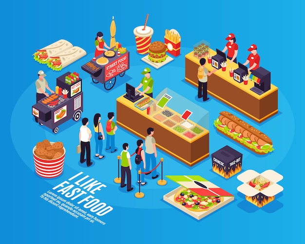 Fast food isometric Free Vector