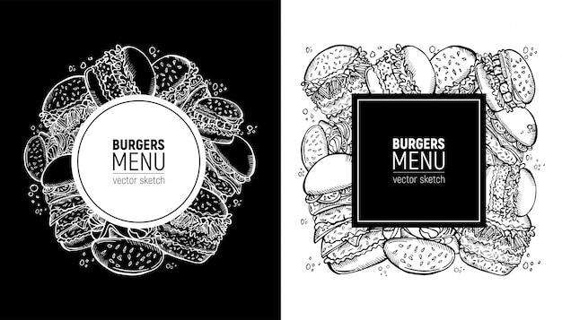 Fast food label.burgers menu or menu of snackbar Premium Vector