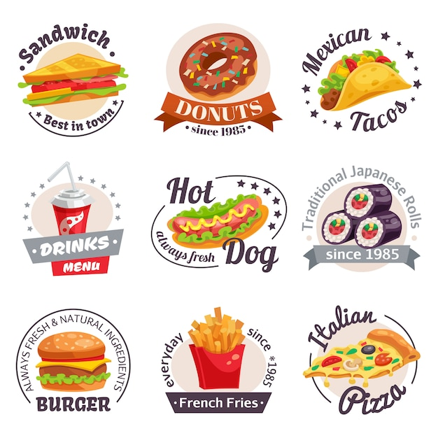 Fast food labels set Free Vector