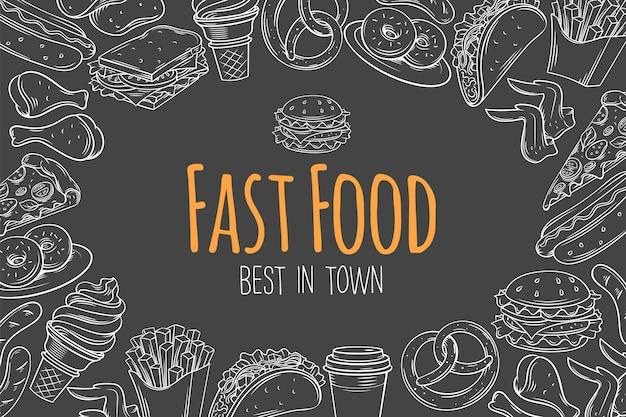 Макет быстрого питания, шаблон страницы, иллюстрация эскиза меню кафе с закусками, гамбургером, картофелем фри, хот-дог, тако, кофе, сэндвичем и мороженым Premium векторы