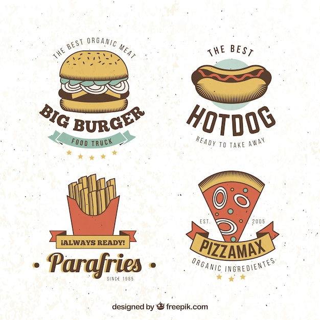 Fast food logo collection Free Vector