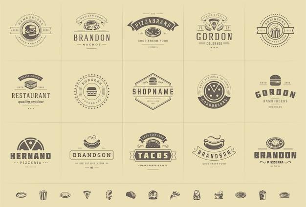 ファーストフードのロゴは、ピザ屋やハンバーガーショップやレストランのメニューバッジに適したベクトルイラストを設定します。 Premiumベクター