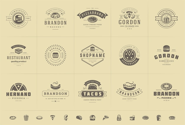 Fast food logos set vector illustration good for pizzeria or burger shop and restaurant menu badges with food silhouettes Premium Vector