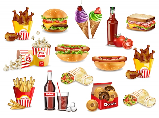 Fast food meals set collection Premium Vector