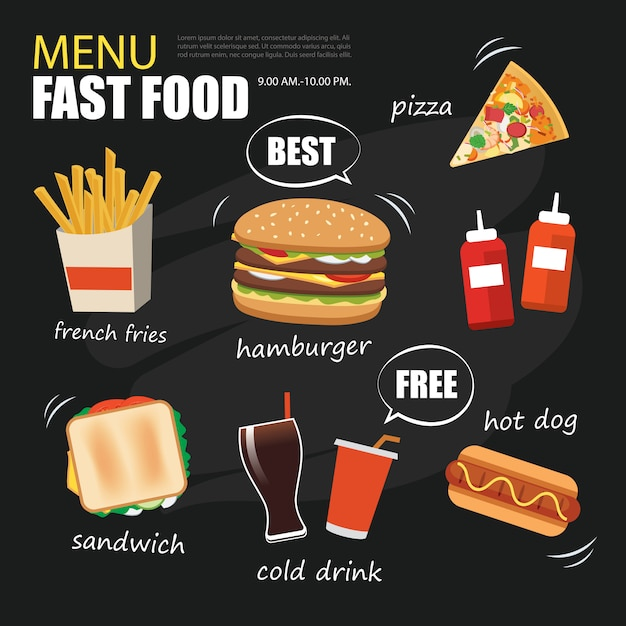 Fast food menu on chalkboard background flat design Premium Vector