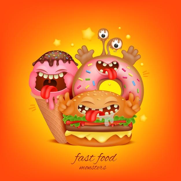 ファーストフードメニューのコンセプト。ハンバーガー、アイスクリーム、ドーナツの漫画のキャラクター Premiumベクター