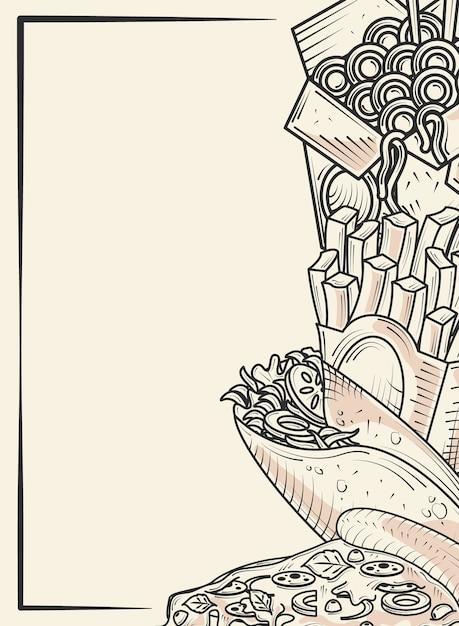 Меню быстрого питания ресторан буррито пицца картофель фри рисованной плакат иллюстрации Premium векторы