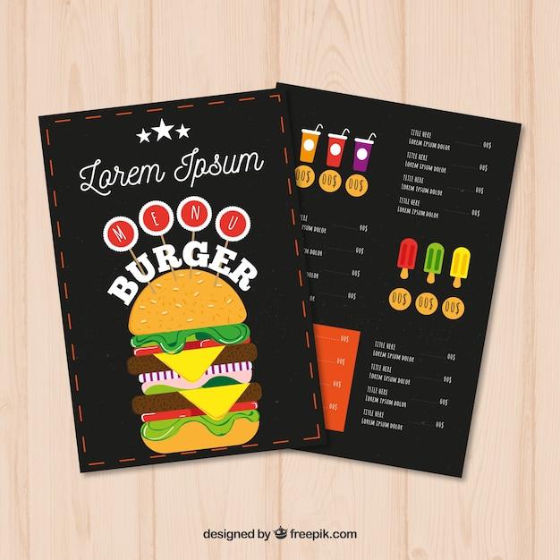 fast food menu template in flat design vector free download