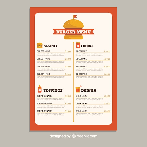 Fast Food Menu Template In Flat Design Vector  Free Download