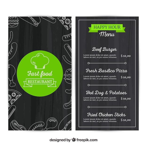 Fast food menu template in flat design Free Vector