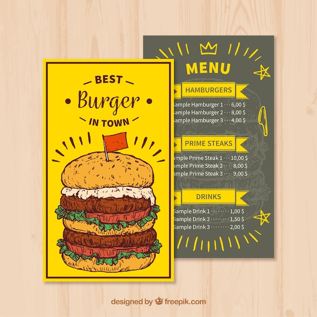 Fast Food Menu Template In Hand Drawn Style Free Vector
