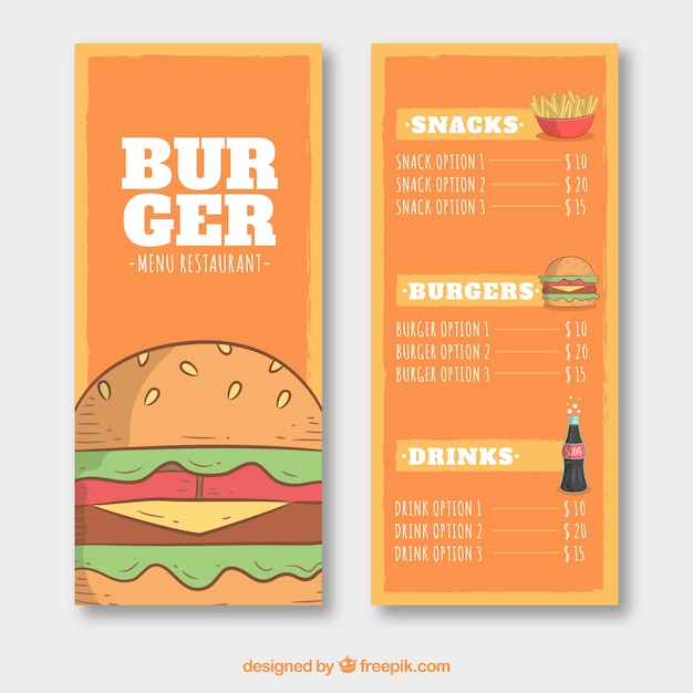 Fast Food Menu Template In HandDrawn Style Vector  Free Download