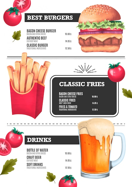Fast food menu template with hamburger, chips and beer illustrations Free Vector
