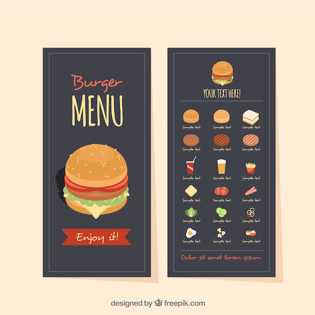 Fast Food Menu Template With Variety Of Ingredients Vector  Free