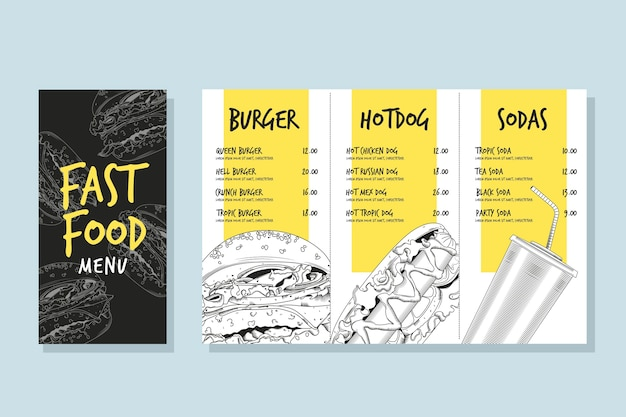 Fast Food Menu Template Vector Free Download