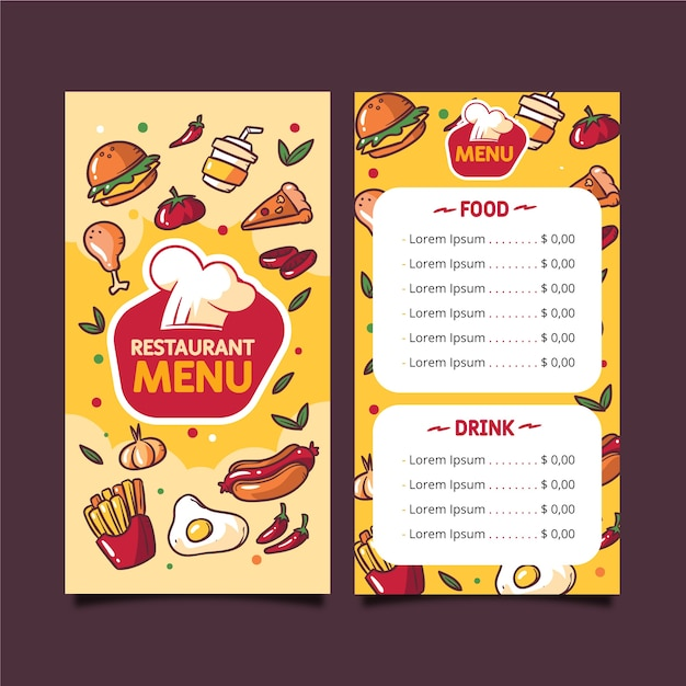 Fast food menu template Free Vector