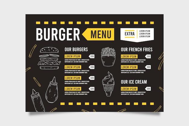 Шаблон меню быстрого питания Бесплатные векторы