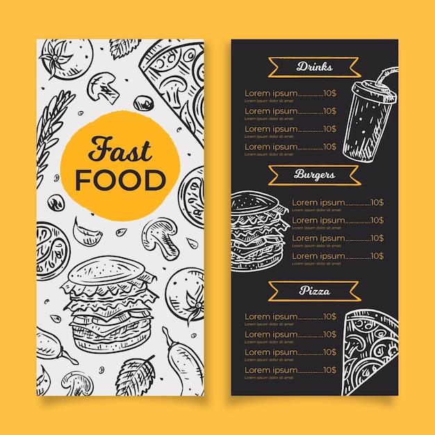 Fast food menu template Premium Vector