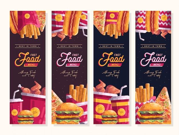 Fast food menu vertical banner vector set template Premium Vector