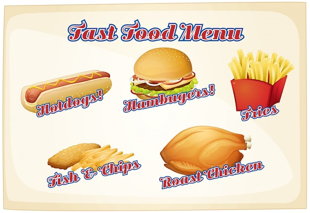Fast food menu with assorted foods