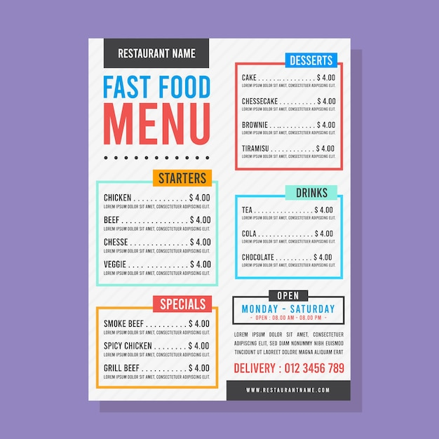 Fast food menu with colourful text boxes Free Vector