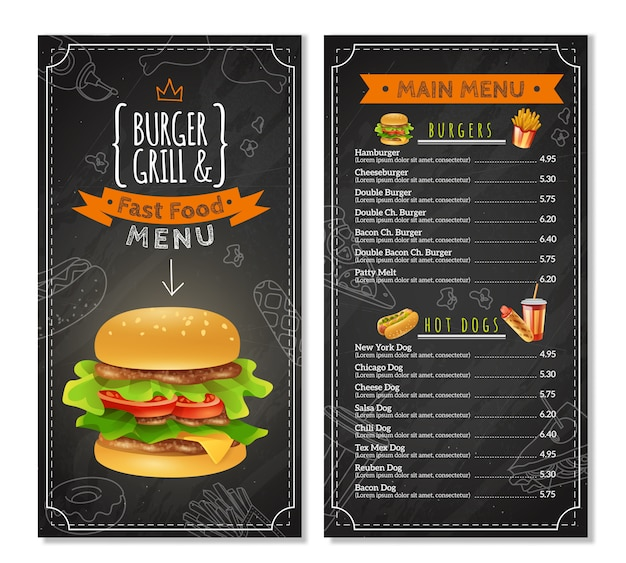 Fast food menu Free Vector