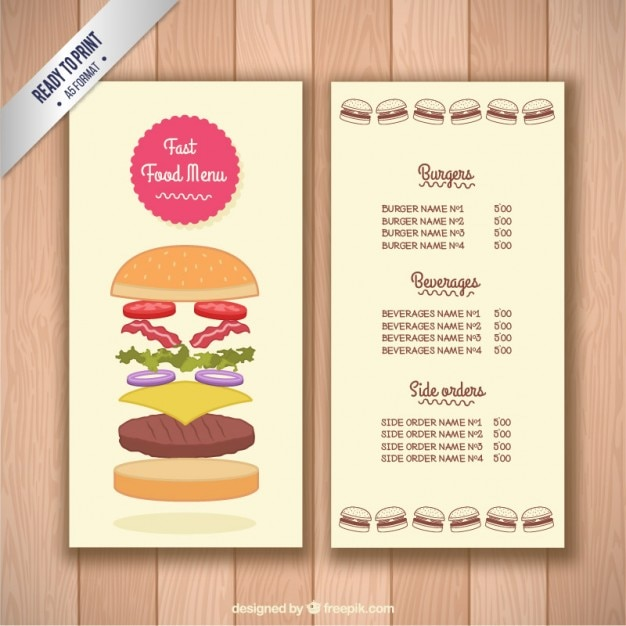 Fast Food Menu Vector | Premium Download