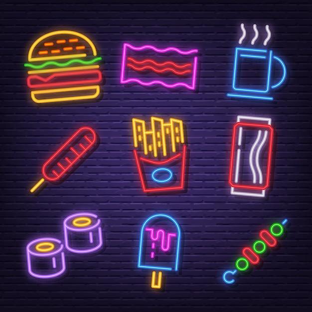 Fast food neon icons Premium Vector