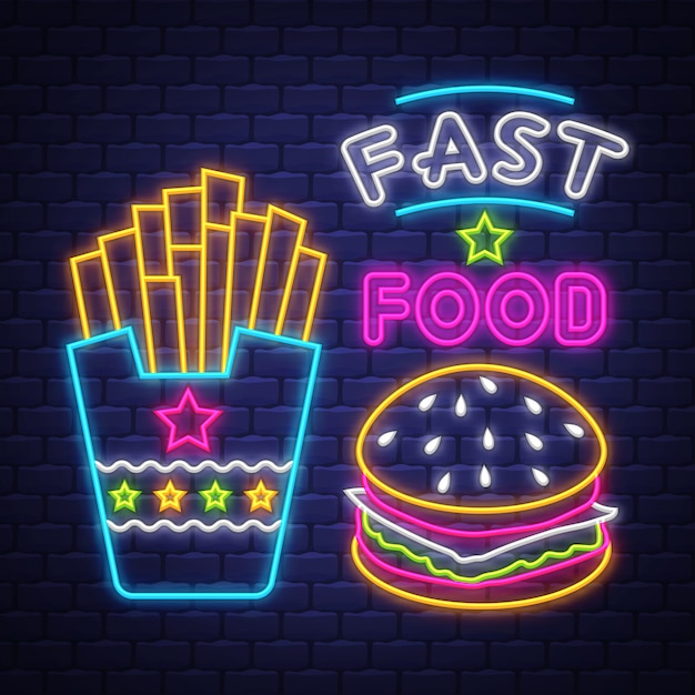 Fast food - neon sign vector. fast food - neon sign on brick wall background Premium Vector