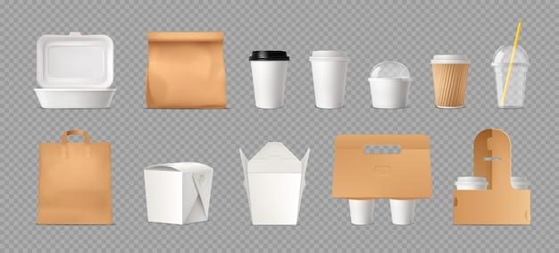 패스트 푸드 패키지 투명 종이 가방 및 상자 및 플라스틱 컵 현실적인 세트 무료 벡터