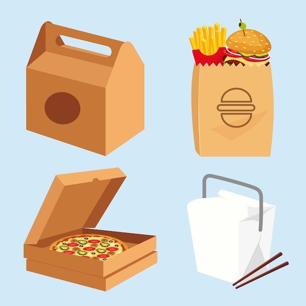 Упаковка фаст-фуда, гамбургеры, коробка для пиццы, китайская еда в белой коробке Premium векторы