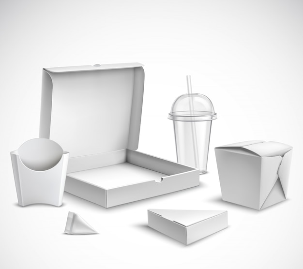 Fast food packaging realistic set Free Vector