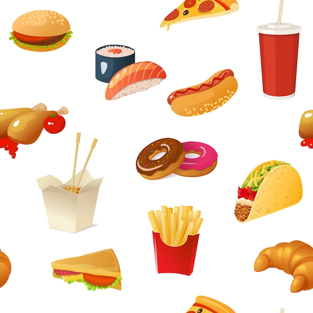 Fast food pattern Free Vector