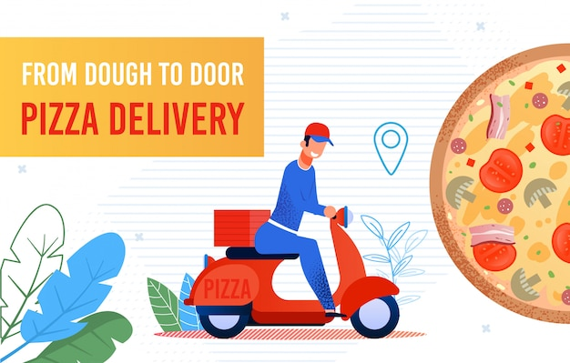 Fast food pizza delivery to door by courier banner Premium Vector