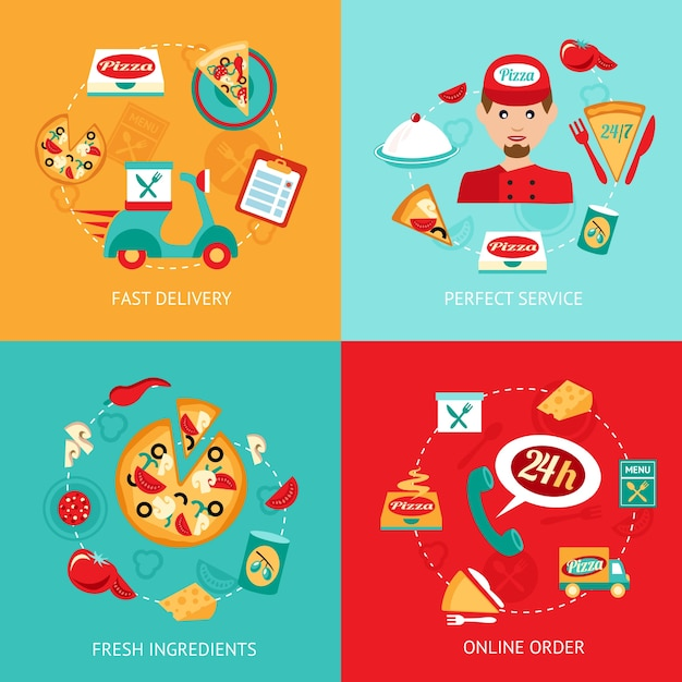 Fast food pizza delivery perfect service fresh ingredients online order decorative icons set isolated vector illustration