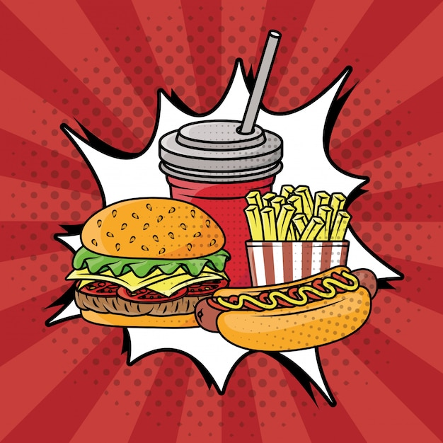 Fast food pop art style Free Vector