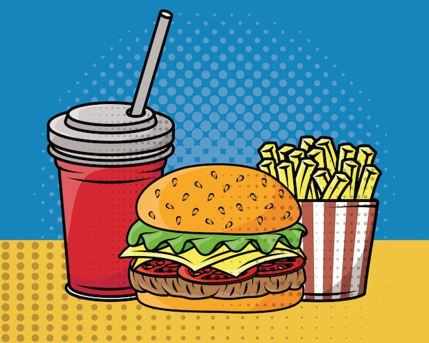 Fast food pop art style Free Vector
