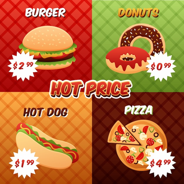 Fast food poster set Free Vector