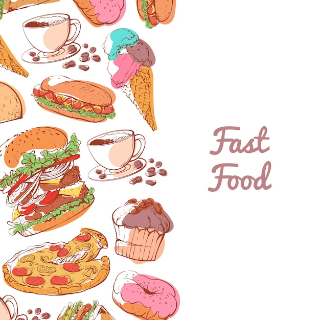 Fast food poster with prepared snacks Premium Vector