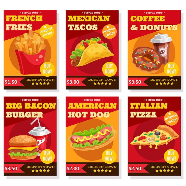 Fast food posters set Free Vector