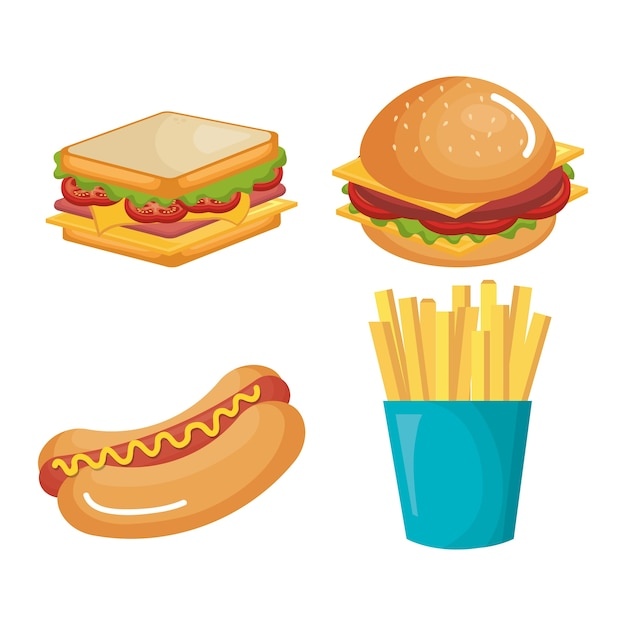 Fast food product icons vector illustration design Premium Vector