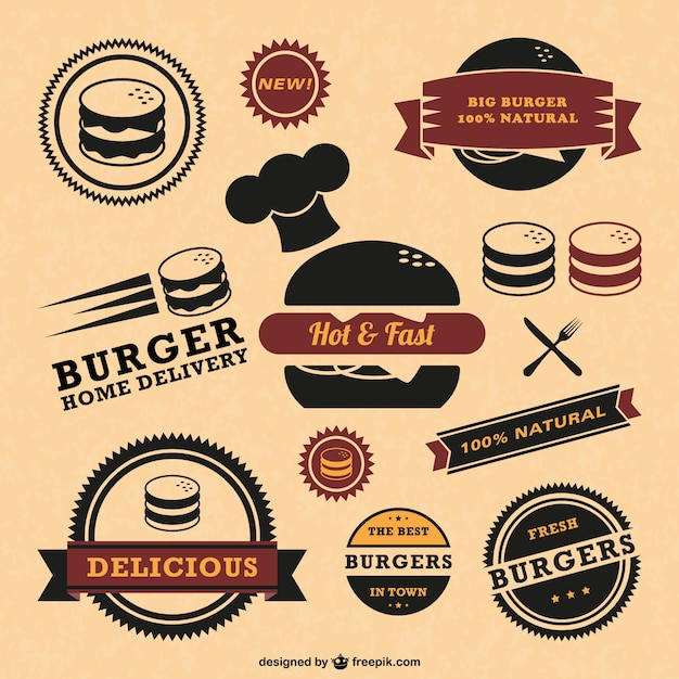 Fast food quality badges Premium Vector