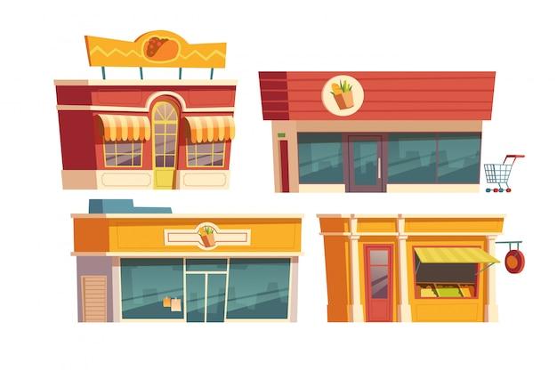 ファーストフードのレストランや漫画の建物の店 無料ベクター