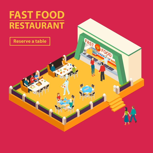 Fast food restaurant background Free Vector