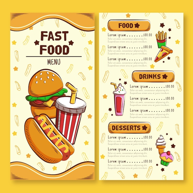 Fast food restaurant banner pack template Free Vector