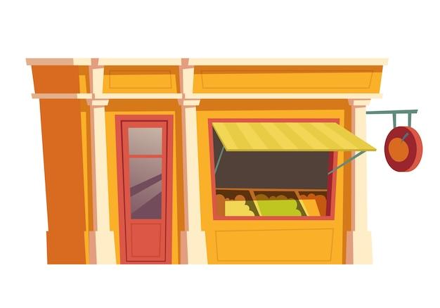 ファーストフードレストランの建物漫画のベクトル 無料ベクター