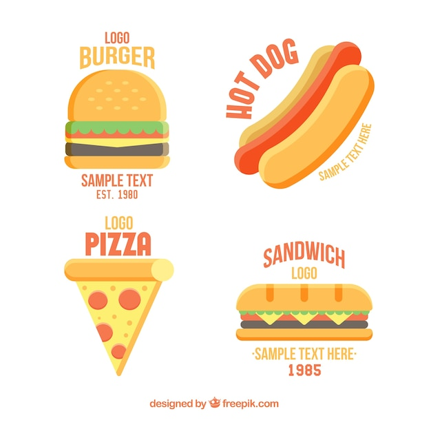 fast food restaurant flat logos collection vector free
