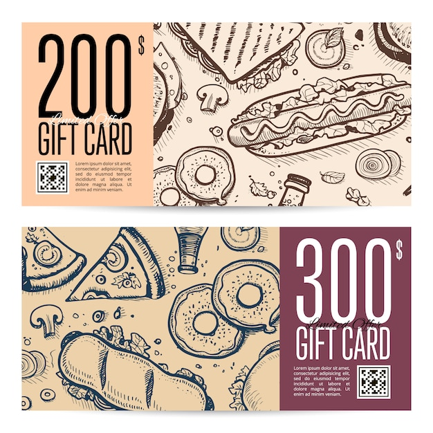 Fast food restaurant gift card set in retro style Premium Vector