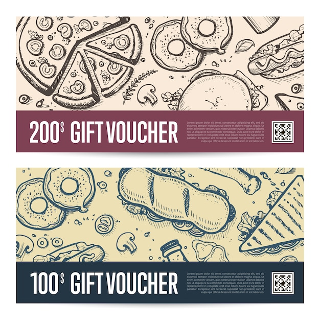 Fast food restaurant gift voucher set Premium Vector